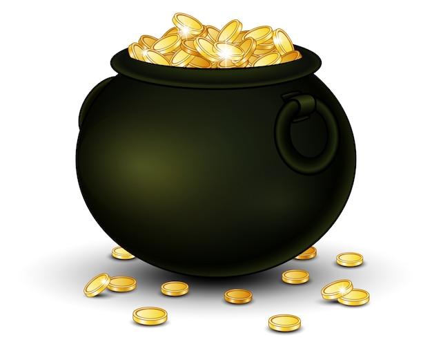 Wektorowa ilustracja czarny garnek pełno złociste monety