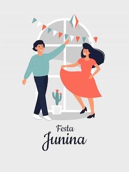 Wektorowa ilustracja dla festa junina z szczęśliwą dansing kobietą i mężczyzna w domu.
