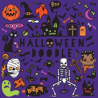 Wektorowa ilustracja doodle halloweenowy plakatowy projekta set, ręka