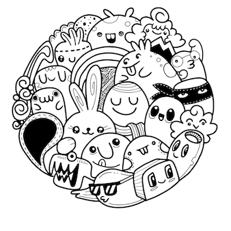 Wektorowa ilustracja doodle potwora śliczny tło