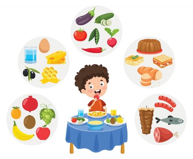 Wektorowa ilustracja dzieci jedzenia pojęcie
