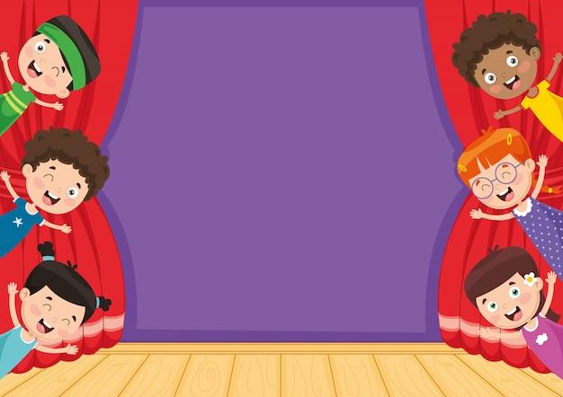 Wektorowa ilustracja dzieci przy teatrem