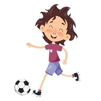 Wektorowa ilustracja dzieciak bawić się futbol