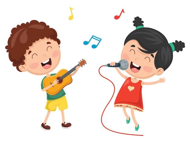 Wektorowa ilustracja dzieciak bawić się muzykę