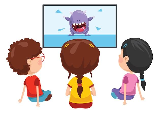 Wektorowa ilustracja dzieciak ogląda tv