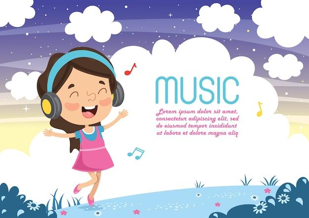 Wektorowa ilustracja dzieciak słuchająca muzyka