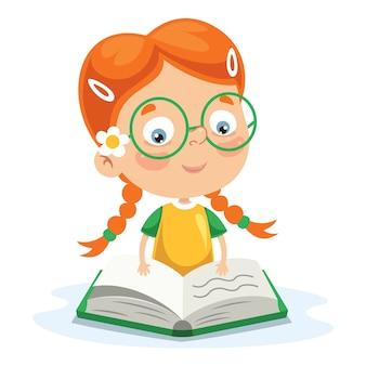Wektorowa ilustracja dzieciaka czytanie