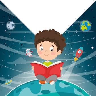 Wektorowa ilustracja dzieciaka czytelnicza książka
