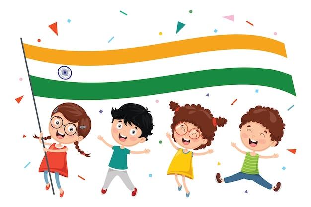 Wektorowa ilustracja dzieciaka mienia flaga
