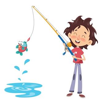 Wektorowa ilustracja dzieciaka połów