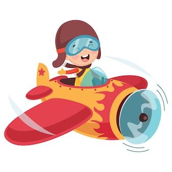 Wektorowa ilustracja dzieciaka samolot operacyjny