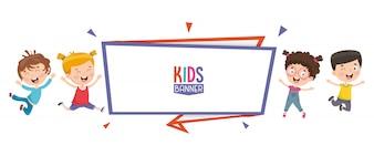 Wektorowa ilustracja dzieciaka sztandar