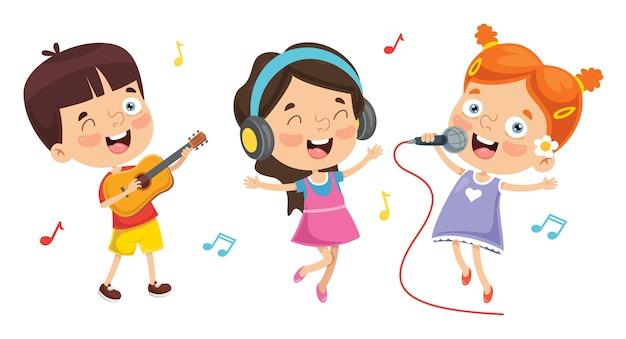 Wektorowa ilustracja dzieciaki bawić się muzykę