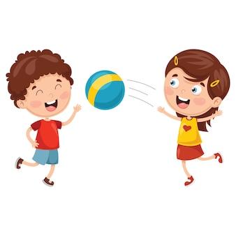 Wektorowa ilustracja dzieciaki bawić się z piłką