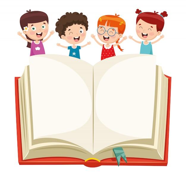 Wektorowa ilustracja dzieciaki pokazuje otwartą książkę
