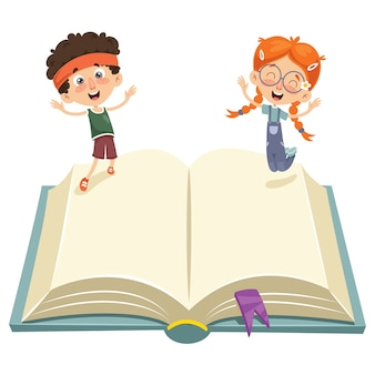 Wektorowa ilustracja dzieciaki skacze na książce
