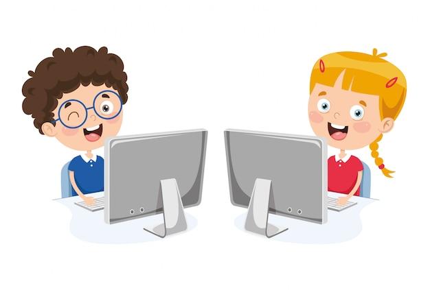 Wektorowa ilustracja dzieciaki używa komputer