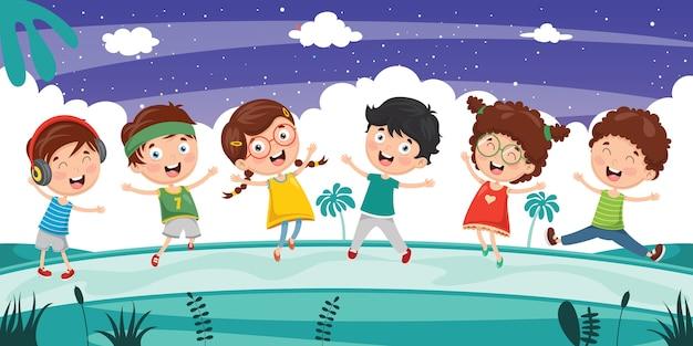 Wektorowa ilustracja dzieciaków bawić się