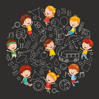 Wektorowa ilustracja dziecięcy nakreślenia tło