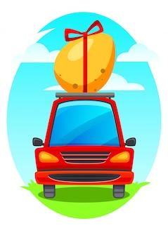 Wektorowa ilustracja easter samochód. czerwony samochód nosi jajko wielkanocne.