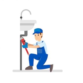 Wektorowa ilustracja fachowi hydraulicy