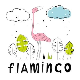 Wektorowa ilustracja flamingi. ładne tło. ręcznie rysowane litery stylu. kreskówka w stylu