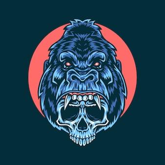 Wektorowa ilustracja goryl czaszka