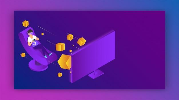 Wektorowa ilustracja jest ubranym vr szkła chłopiec bawić się wideo grę na komputerze dla rzeczywistości wirtualnej pojęcia chłopiec.