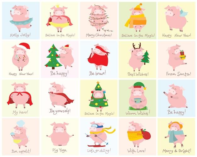 Wektorowa ilustracja karta z symbolem roku żółta świnia z prezentami świątecznymi i zabawnymi, ręcznie rysowanymi życzeniami świątecznymi