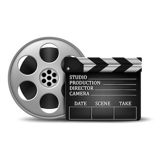 Wektorowa ilustracja kinowy klaśnięcie i ekranowa rolka