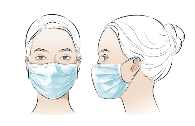 Wektorowa ilustracja kobieta jest ubranym jednorazową medyczną chirurgiczną maskę na twarz.
