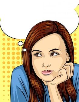 Wektorowa ilustracja kobiety główkowanie i przyglądający up. ilustracja komiksu stylu ładna twarz dziewczyny