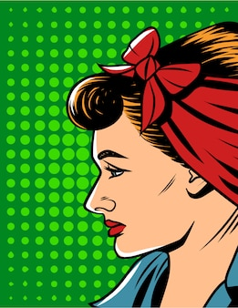 Wektorowa ilustracja kobiety twarz w komicznym pop-art stylu. ładna kobieta w stylu retro