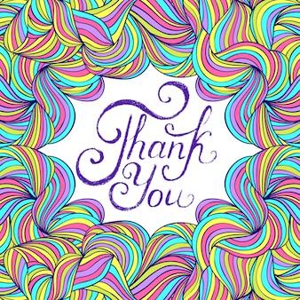 Wektorowa ilustracja kolorowy dziękuje ciebie karciany projekt