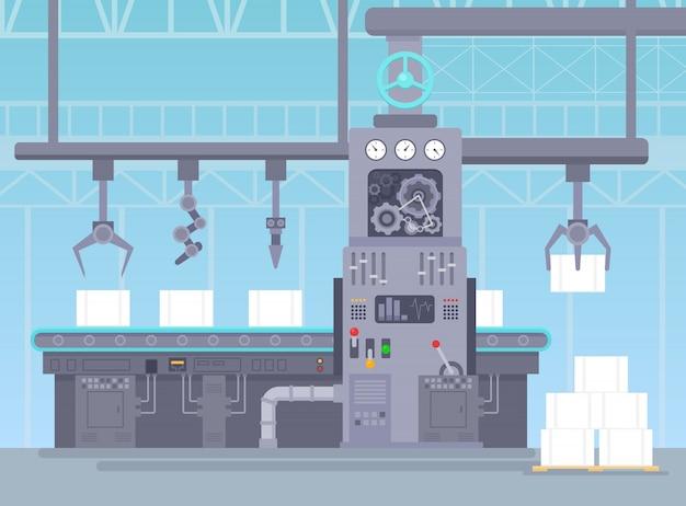 Wektorowa ilustracja konwejer w produkcja magazynie. fabryczna koncepcja przemysłowa. produkcja przenośników i pakowanie paczek na linii pasów w stylu płaskiej kreskówki.