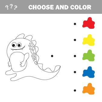 Wektorowa ilustracja kreskówka dinozaur - kolorowanka i puzzle dla dzieci