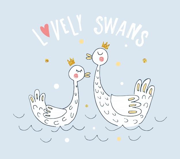 Wektorowa ilustracja kreskówka łabędzie dla dziewczynki nadruk nowoczesny plakat w stylu z ptakami