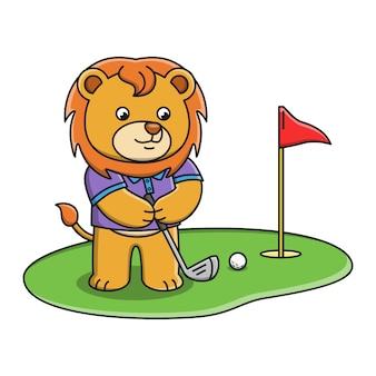 Wektorowa ilustracja kreskówka lew bawić się golfa