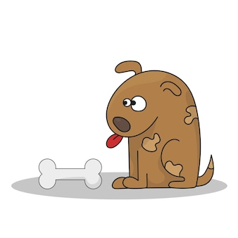 Wektorowa ilustracja kreskówka pies z kością. szczęśliwy kreskówka siedzący szczeniak, słodki piesek