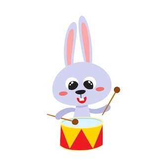 Wektorowa ilustracja kreskówka śmieszny zając śliczny śmieszny zwierzęcy królik z perkusją