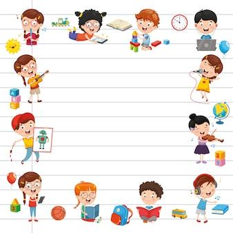 Wektorowa ilustracja kreskówka ucznie