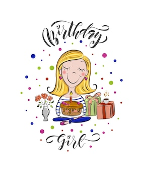 Wektorowa ilustracja kreskówka urodzinowa dziewczyna z tekstem na urodziny projekt happy birthday eps10