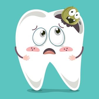 Wektorowa ilustracja kreskówka ząb