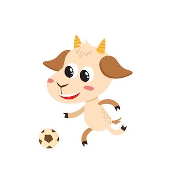 Wektorowa ilustracja kreskówka zabawna koza stojąca śliczna zabawna koza postać zwierzęca z piłką