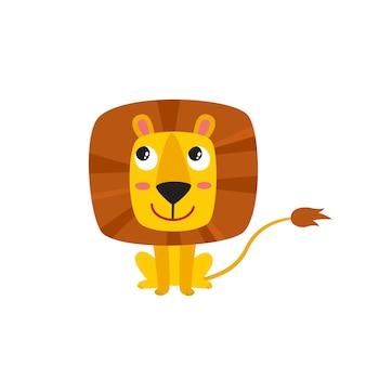 Wektorowa ilustracja kreskówka zabawny lew ładny zabawny zwierzę siedzący kot postać