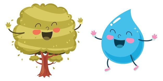 Wektorowa ilustracja kreskówki kropla i drzewo