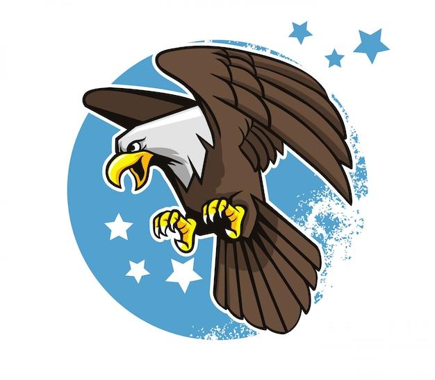 Wektorowa ilustracja latać łysego orła z gwiazdowym okręgu tłem.