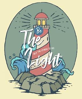 Wektorowa ilustracja latarnia morska na morzu