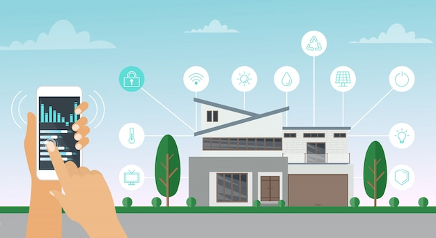 Wektorowa ilustracja mądrze domowy pojęcie. system technologii domowej z kontrolą smartfona w stylu płaskiej kreskówki.