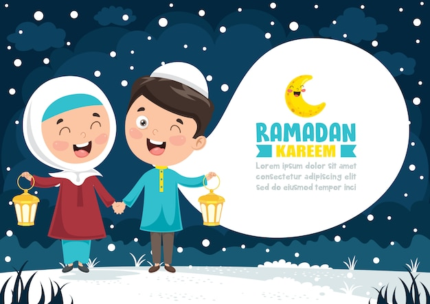 Wektorowa ilustracja muzułmańscy dzieci świętuje ramadan